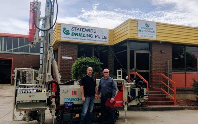 Statewide Drilling Pty Ltd Director David Alkemade and Drilltechniques Director Cameron Gaylard stand in front of Statewide's…